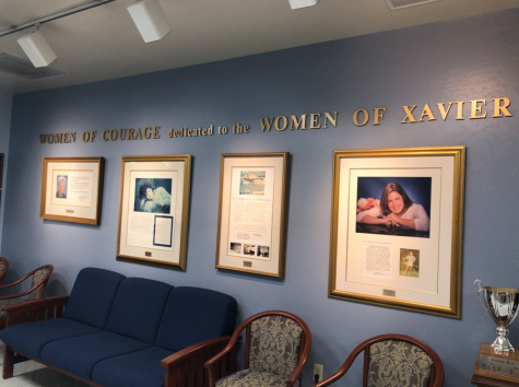The Women of Courage Wall, located in the downstairs Virginia Piper Center, consists of 11 exceptional women with personally signed letters and portraits. The wall has been up since the Virginia Piper Center was built in 1994 and has progressed since then to exemplify women of excellence for Xavier students.
