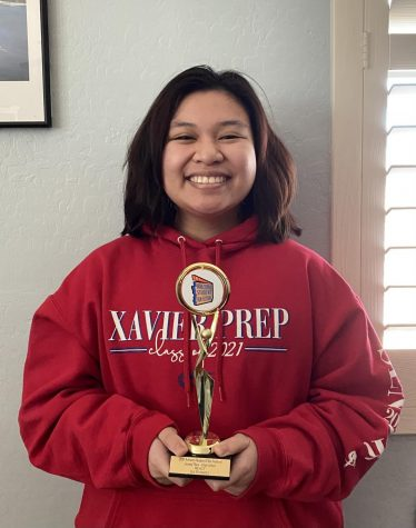 "Senior Isabelle Soriano holds her 2nd place trophy. She was recognized for her short film ""Mercy"" in the Arizona State Student Film Festival."