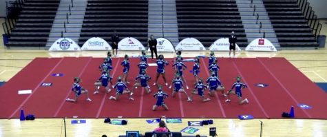 Cheer girls perform their full-team routine at State Qualifiers in 2020. The State Qualifiers this year occurred in person, while National Qualifiers occurred virtually.