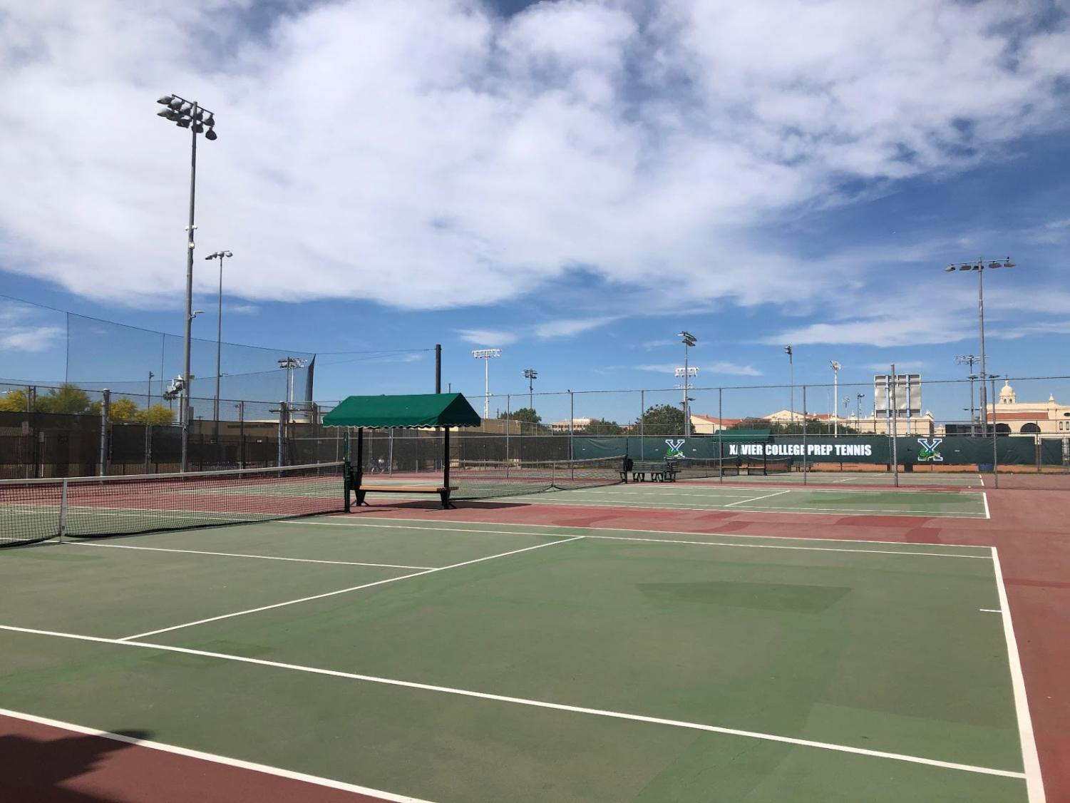 The current Stark Tennis Courts will be renovated this summer. The cracks and breaks in the courts have constantly been filled in over the years.