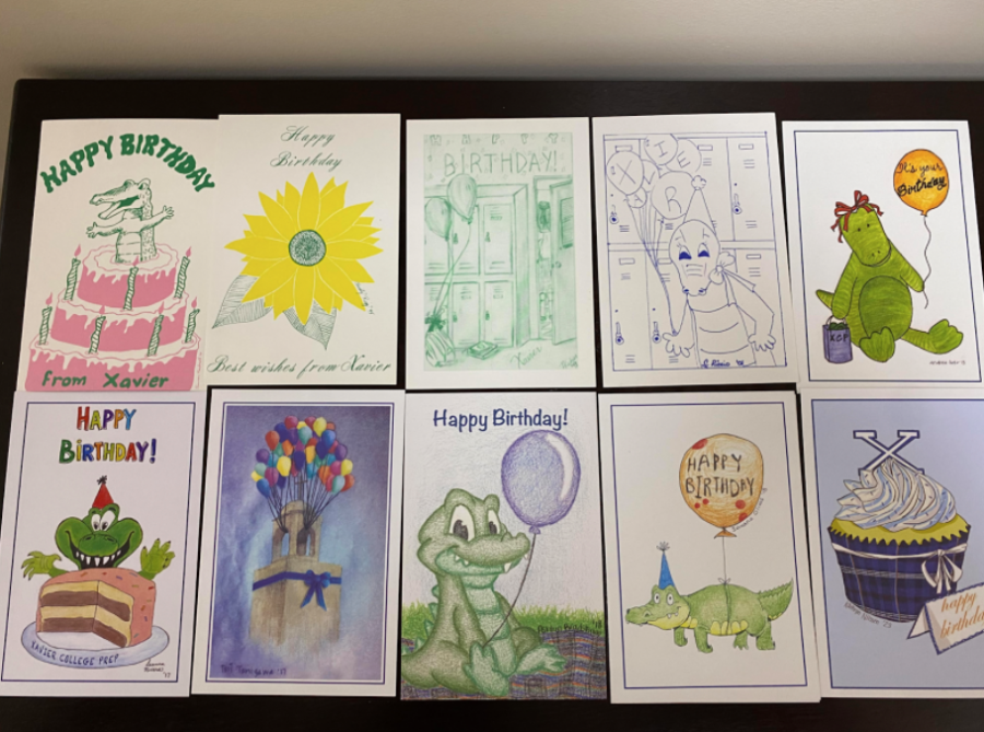 Birthday cards through the years are arranged from the first card to the second most recent card.