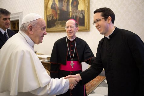 Father Nathaniel Glenn meets Pope Francis with Bishop Olmsted in Vatican City, Rome at the Apostolic Palace, February 10, 2020. Glenn was still a student at the time and accompanied Olmsted for Olmsted's required Ad Limina visit with Francis every 5-8 years.